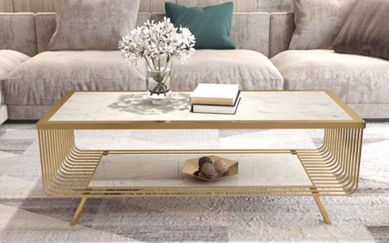 Table Basse Marbre Marbre Blanc Or Meubles Dailyselect
